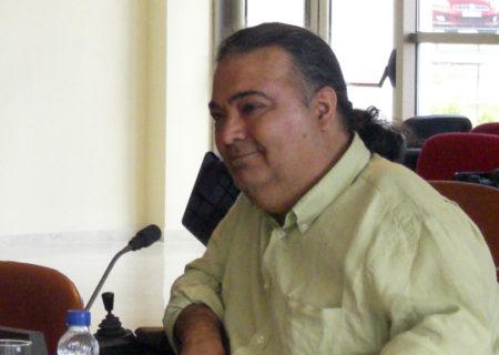 Manuel Lobato durante un acto de la Red Europea de Vida Independiente