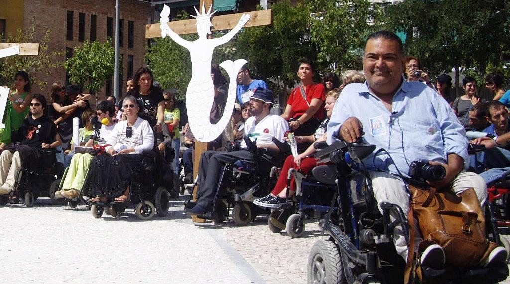 Manuel Lobato en una de las Marchas por la Visibilidad de la Diversidad Funcional